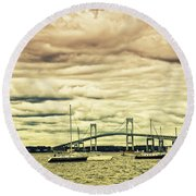 Storm Brewing In Newport Round Beach Towel