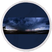 Storm Cell Over Lubec Maine Round Beach Towel
