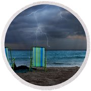 Storm Chairs Round Beach Towel by Laura Fasulo