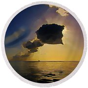 Storm Cloud Over Calm Waters Round Beach Towel by John Malone