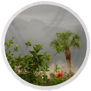 Storm Clouds And Flowers Round Beach Towel