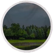 Storm Clouds And Trees Round Beach Towel