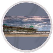 Storm Clouds Approaching - Hdr Round Beach Towel