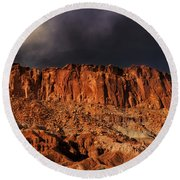 Storm Clouds Capitol Reef National Park Utah Round Beach Towel