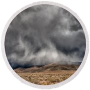 Storm Clouds Round Beach Towel by Cat Connor