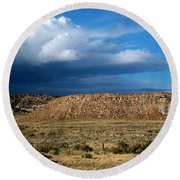 Storm Clouds Over Central Wyoming Round Beach Towel