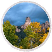 Storm Clouds Over Chimney Rock Round Beach Towel
