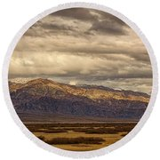 Storm Clouds Over Snowy Peaks #2 Round Beach Towel