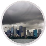 Storm Clouds Over Sydney Round Beach Towel