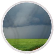 Storm Clouds Over Wheat Field 2am-6982 Round Beach Towel