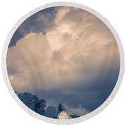 Storm Coming To The Old Farm Round Beach Towel