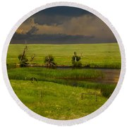 Storm Crossing Prairie 1 Round Beach Towel
