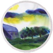 Storm In The Countryside Round Beach Towel