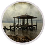 Storm In The Distance Round Beach Towel