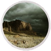 Storm In The Superstitions Round Beach Towel