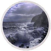 Storm Lifting At Gulliver's Hole Round Beach Towel