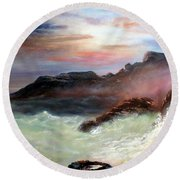 Storm On Mount Desert Island Round Beach Towel
