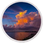 Storm On Tampa Round Beach Towel