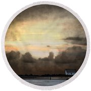 Storm On The Water Round Beach Towel