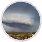 Storm Over Badlands 2am-115139 Round Beach Towel