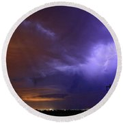 Storm Over Brush Round Beach Towel
