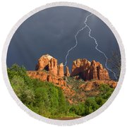 Storm Over Cathedral Rock Round Beach Towel