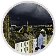 Storm Over Conwy Round Beach Towel