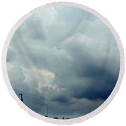 Storm Over Country Road Round Beach Towel