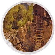Storm Over Crystal Mill Round Beach Towel
