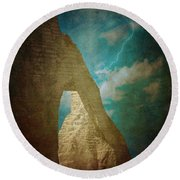 Storm Over Etretat Round Beach Towel by Loriental Photography