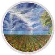 Storm Over Homestead Round Beach Towel