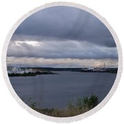 Storm Over Lake Manistee Round Beach Towel