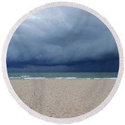 Storm Over Lake Michigan Round Beach Towel
