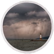Storm Over Myers Point Round Beach Towel