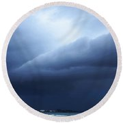 Storm Over Siesta Key - Beach Art By Sharon Cummings Round Beach Towel