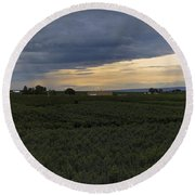 Storm Over The Yakima Valley Round Beach Towel