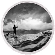Storm Paddler Round Beach Towel by Sean Davey