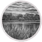 Storm Passing The Pond In Bw Round Beach Towel