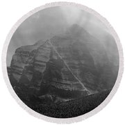 1m3556-bw-storm Raging Over Mt. Temple Round Beach Towel
