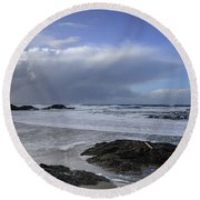 Storm Rolling In Wickaninnish Beach Round Beach Towel