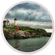 Storm Rolling In Round Beach Towel by Heather Applegate