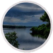 Storm Rolling Over Lake Wausau Round Beach Towel