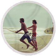 Storm Surfers Round Beach Towel