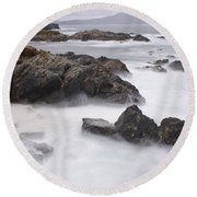 Storm Waves And Cliffs Round Beach Towel