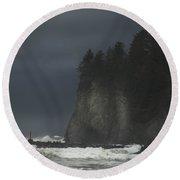 Storm At Lapush Washington State Round Beach Towel