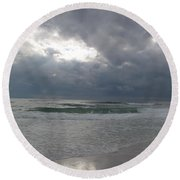 Stormclouds Over The Sea Round Beach Towel