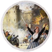 Storming The Bastille Round Beach Towel