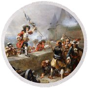 Storming The Battlements Round Beach Towel