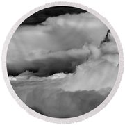 Storms Aloft B W Round Beach Towel