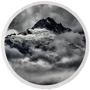 Storms Over Glaciers And Rugged Peaks Round Beach Towel